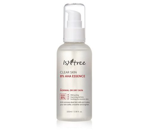 A bottle of ISNTREE Clear Skin 8% AHA Essence (From: isntree.com).
