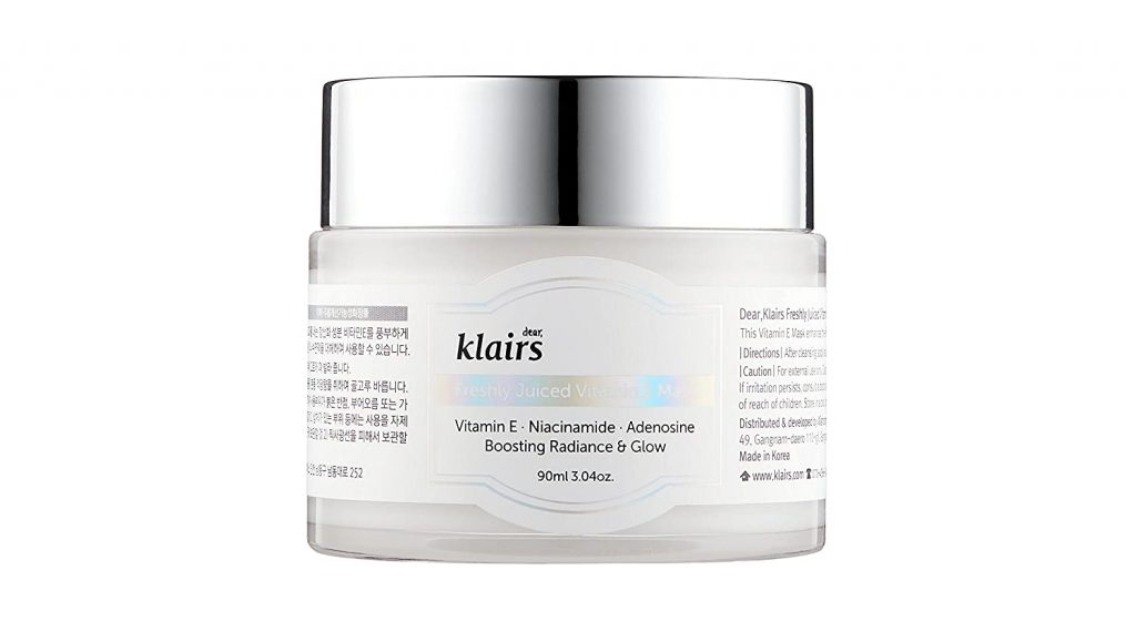 A close-up shot of the Klairs Freshly Juiced Vitamin E Mask jar (From: Klairscosmetics.com).
