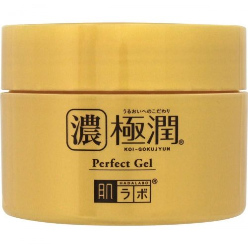 A close-up shot of the Hada Labo Gokujyun Hyaluronic Perfect Gel jar (From: Takaski.com).