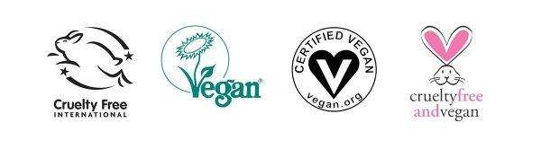 Official logos for Cruelty-Free International, The Vegan Society, Certified Vegan, and Cruelty-Free and Vegan (From:Crueltyfreeinternational.org, Vegansociety.com, Vegan.org, PETA.org).