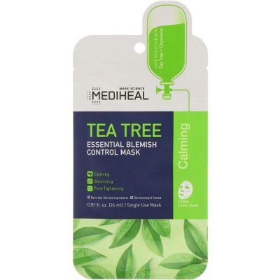 A closer look at the MEDIHEAL Tea Tree Essential Blemish Control Mask. (From: makeupalley.com)